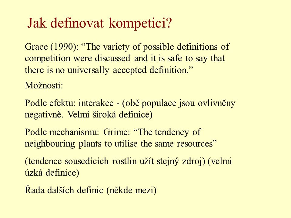 "Grace (1990): ""The variety of possible definitions of competition were discussed and it is safe to say that there is no universally accepted definitio"