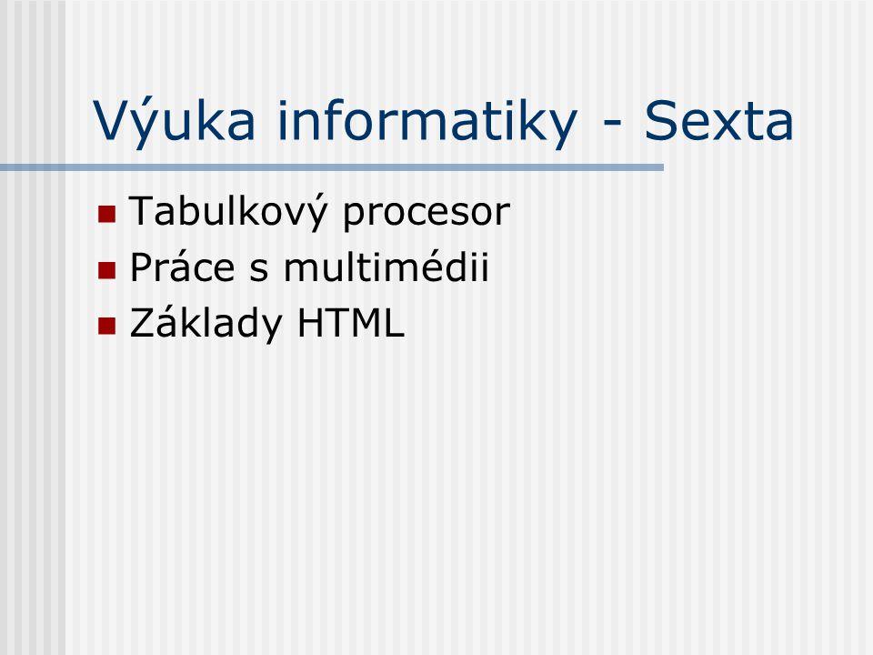 Výuka informatiky - Sexta Tabulkový procesor Práce s multimédii Základy HTML
