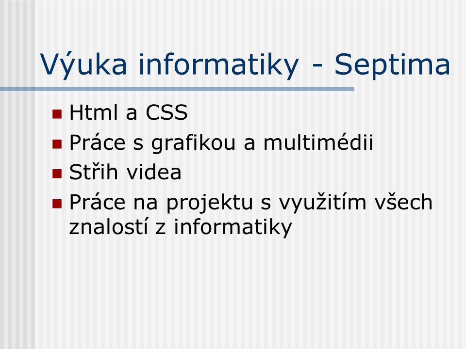 Výuka informatiky - Septima Html a CSS Práce s grafikou a multimédii Střih videa Práce na projektu s využitím všech znalostí z informatiky