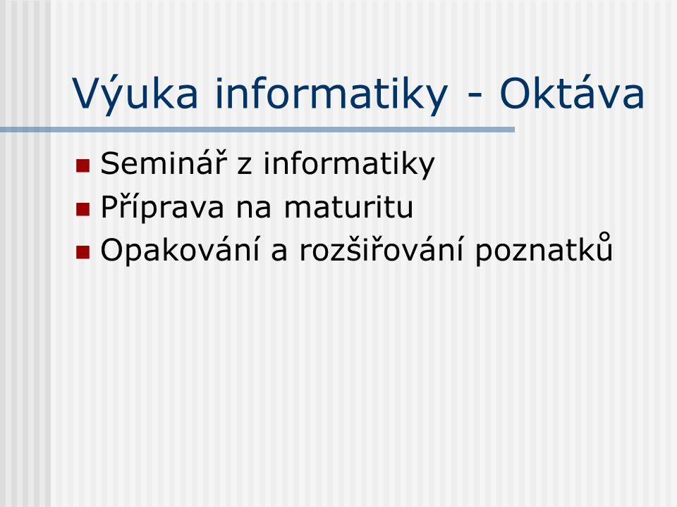 Výuka informatiky - Oktáva Seminář z informatiky Příprava na maturitu Opakování a rozšiřování poznatků