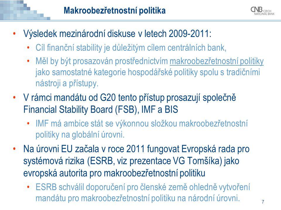 7 Makroobezřetnostní politika Výsledek mezinárodní diskuse v letech 2009-2011: Cíl finanční stability je důležitým cílem centrálních bank, Měl by být prosazován prostřednictvím makroobezřetnostní politiky jako samostatné kategorie hospodářské politiky spolu s tradičními nástroji a přístupy.