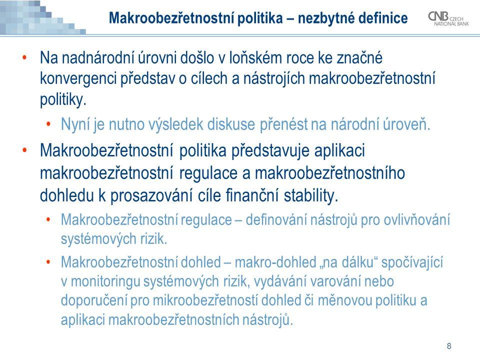 8 Makroobezřetnostní politika – nezbytné definice Na nadnárodní úrovni došlo v loňském roce ke značné konvergenci představ o cílech a nástrojích makroobezřetnostní politiky.