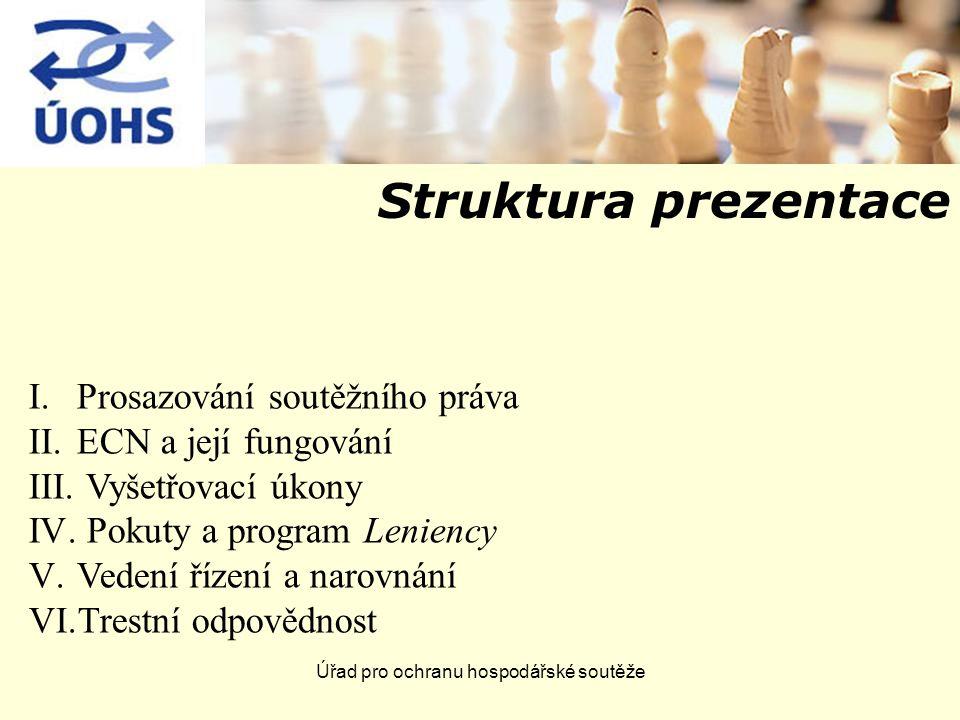 Úřad pro ochranu hospodářské soutěže Struktura prezentace I.Prosazování soutěžního práva II.ECN a její fungování III.