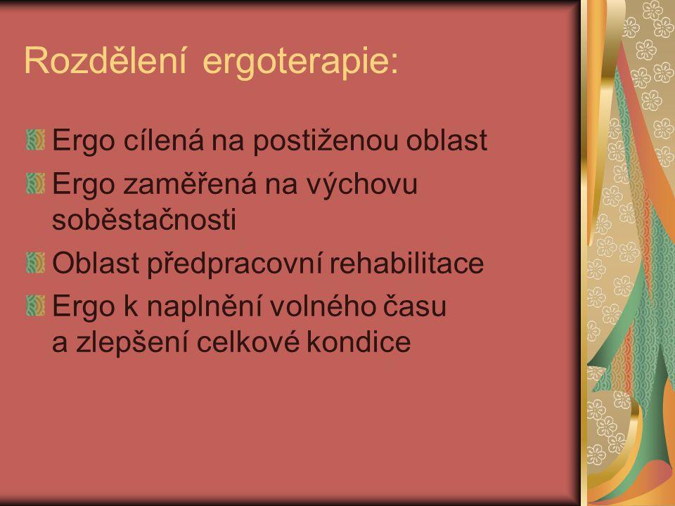 Rozdělení ergoterapie: Ergo cílená na postiženou oblast Ergo zaměřená na výchovu soběstačnosti Oblast předpracovní rehabilitace Ergo k naplnění volného času a zlepšení celkové kondice