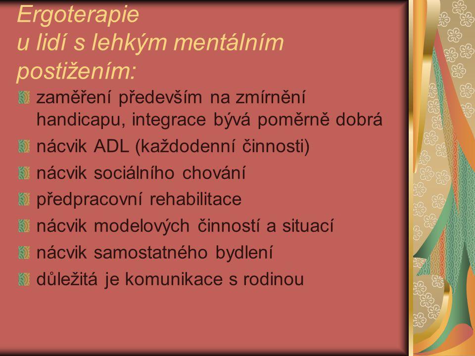 Ergoterapie u lidí s lehkým mentálním postižením: zaměření především na zmírnění handicapu, integrace bývá poměrně dobrá nácvik ADL (každodenní činnos