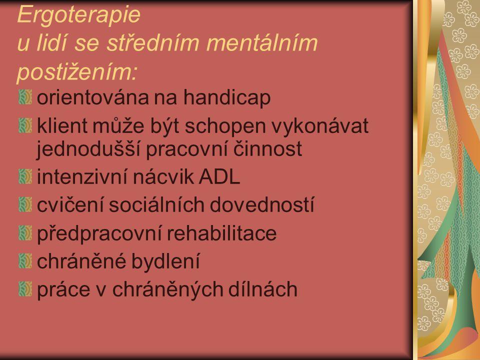 Ergoterapie u lidí se středním mentálním postižením: orientována na handicap klient může být schopen vykonávat jednodušší pracovní činnost intenzivní