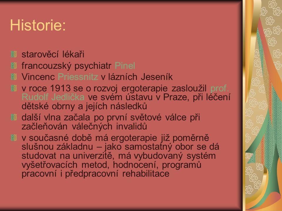 Historie: starověcí lékaři francouzský psychiatr Pinel Vincenc Priessnitz v lázních Jeseník v roce 1913 se o rozvoj ergoterapie zasloužil prof. Rudolf