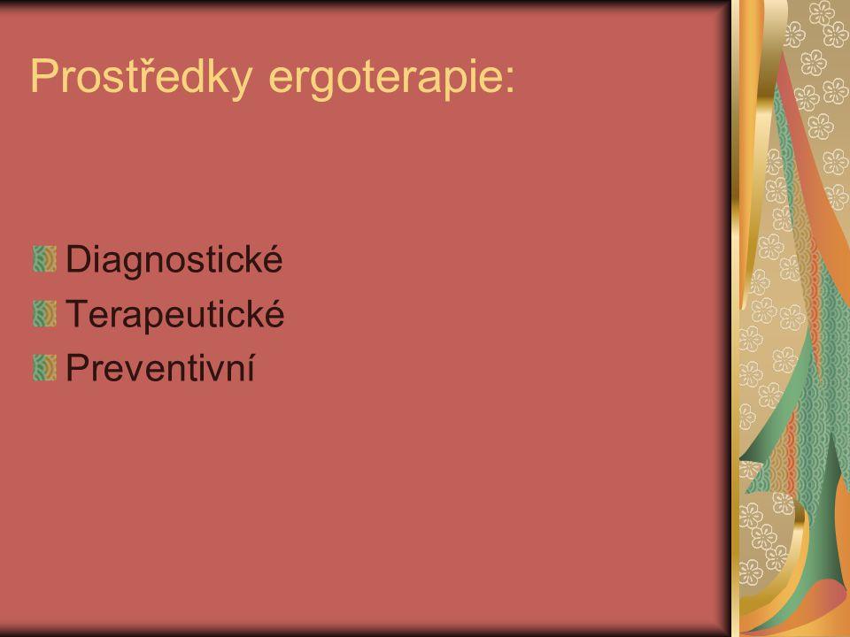 Prostředky ergoterapie: Diagnostické Terapeutické Preventivní
