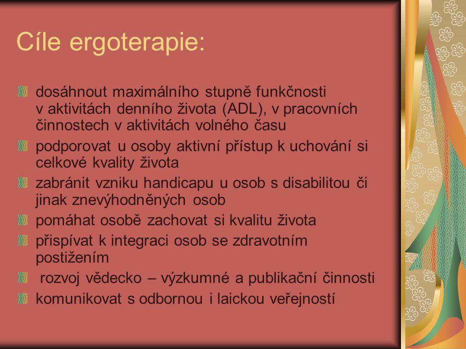 Cíle ergoterapie: dosáhnout maximálního stupně funkčnosti v aktivitách denního života (ADL), v pracovních činnostech v aktivitách volného času podporo