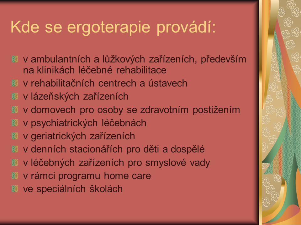 Kde se ergoterapie provádí: v ambulantních a lůžkových zařízeních, především na klinikách léčebné rehabilitace v rehabilitačních centrech a ústavech v lázeňských zařízeních v domovech pro osoby se zdravotním postižením v psychiatrických léčebnách v geriatrických zařízeních v denních stacionářích pro děti a dospělé v léčebných zařízeních pro smyslové vady v rámci programu home care ve speciálních školách