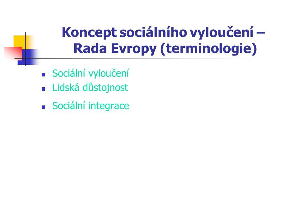 Koncept sociálního vyloučení – Rada Evropy (terminologie) Sociální vyloučení Lidská důstojnost Sociální integrace
