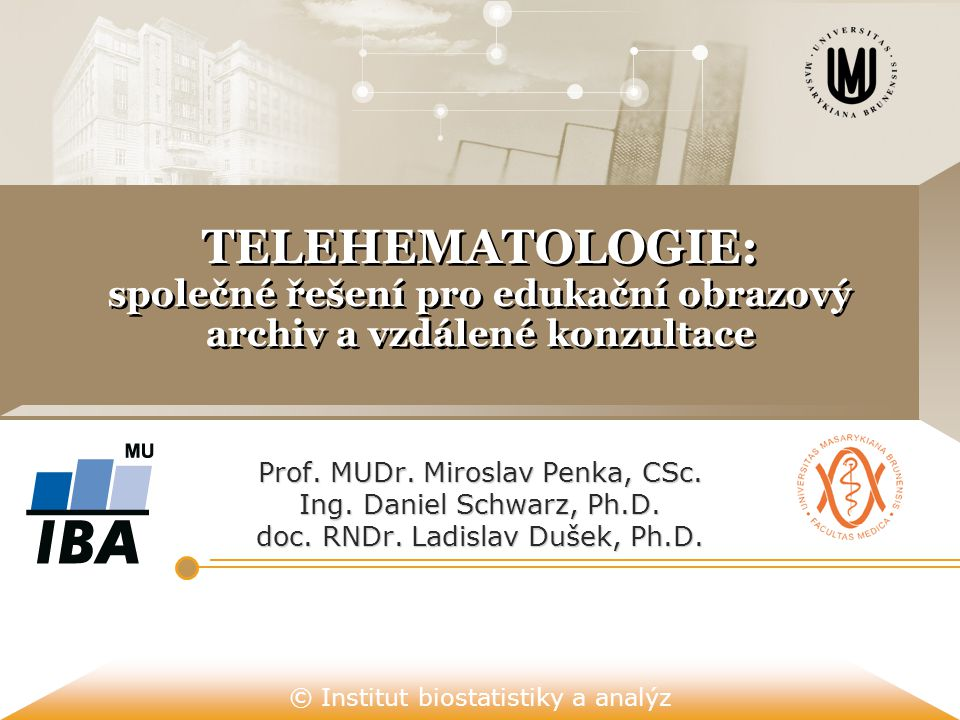 © Institut biostatistiky a analýz TELEHEMATOLOGIE: společné řešení pro edukační obrazový archiv a vzdálené konzultace Prof. MUDr. Miroslav Penka, CSc.