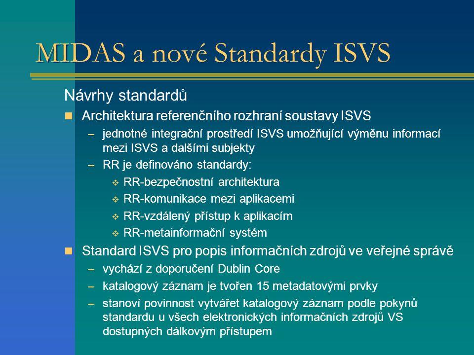 MIDAS a nové Standardy ISVS Návrhy standardů Architektura referenčního rozhraní soustavy ISVS –jednotné integrační prostředí ISVS umožňující výměnu informací mezi ISVS a dalšími subjekty –RR je definováno standardy:  RR-bezpečnostní architektura  RR-komunikace mezi aplikacemi  RR-vzdálený přístup k aplikacím  RR-metainformační systém Standard ISVS pro popis informačních zdrojů ve veřejné správě –vychází z doporučení Dublin Core –katalogový záznam je tvořen 15 metadatovými prvky –stanoví povinnost vytvářet katalogový záznam podle pokynů standardu u všech elektronických informačních zdrojů VS dostupných dálkovým přístupem