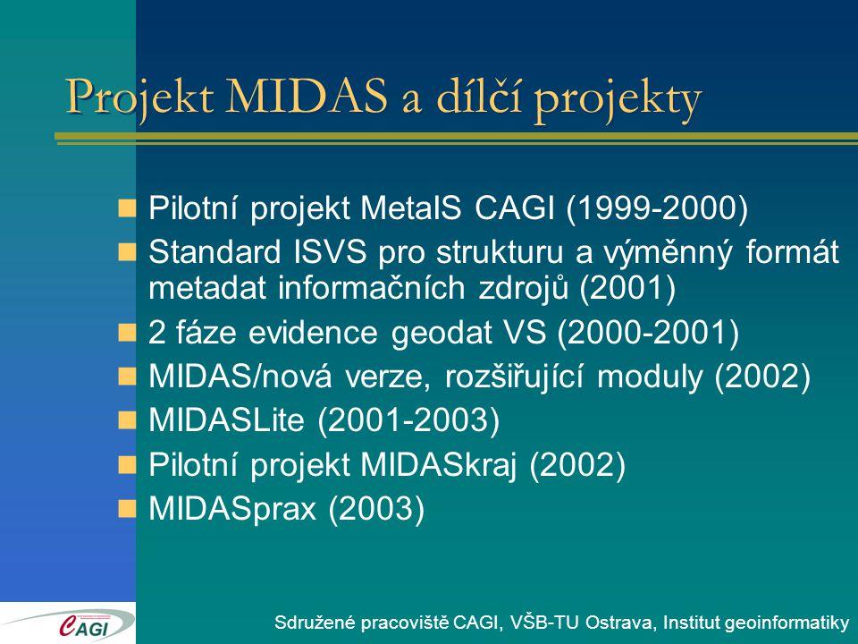 Pilotní projekt MetaIS CAGI (1999-2000) Standard ISVS pro strukturu a výměnný formát metadat informačních zdrojů (2001) 2 fáze evidence geodat VS (2000-2001) MIDAS/nová verze, rozšiřující moduly (2002) MIDASLite (2001-2003) Pilotní projekt MIDASkraj (2002) MIDASprax (2003) Projekt MIDAS a dílčí projekty Sdružené pracoviště CAGI, VŠB-TU Ostrava, Institut geoinformatiky