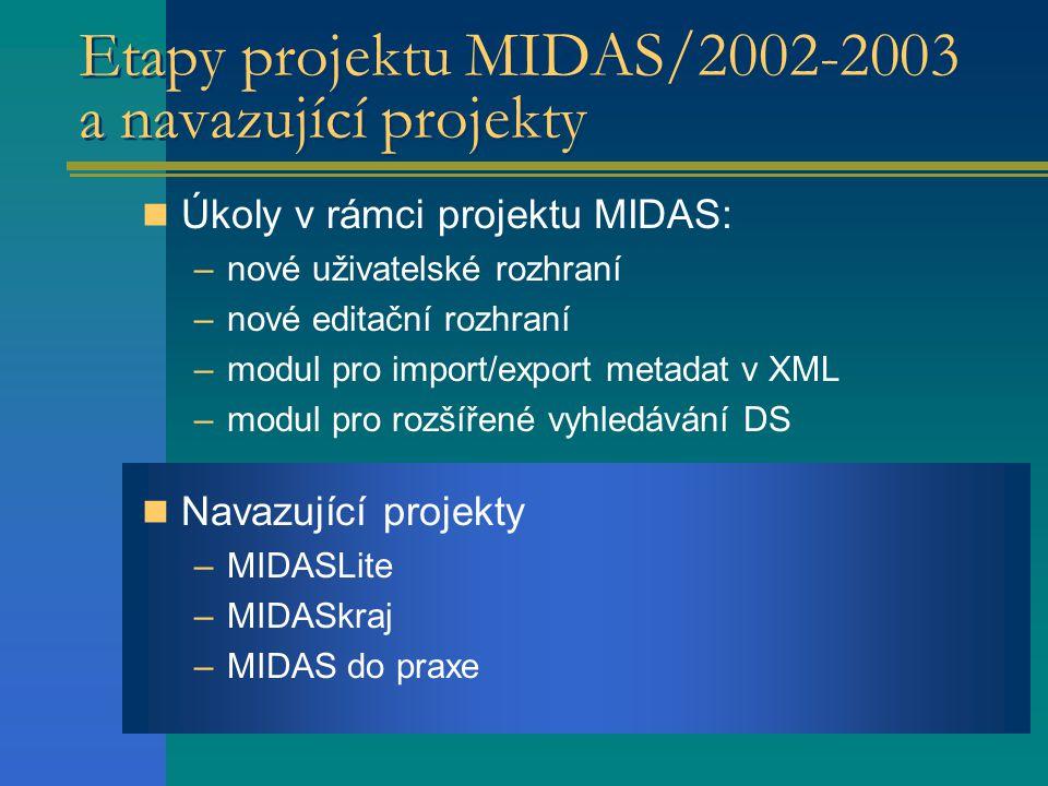MIDASLite Lokální metainformační systém –Aplikace (VisualBasic) nad databází (struktura dle standardu) –Rozsah - DS bez/s prostorovou lokalizací –Export metadat v XML dle standardu –Nová verze MIDASLite 1.2.0 - leden 2003  automaticky generuje novou databázi v požadované struktuře dle standardu  registrace správce (organizace, osoba) geodat a export údajů o správci v XML dle standardu –Podpora uživatelů veřejné správy  omezená nabídka na trhu –MIDASLite je volně ke stažení http://gis.vsb.cz/midashttp://gis.vsb.cz/midas