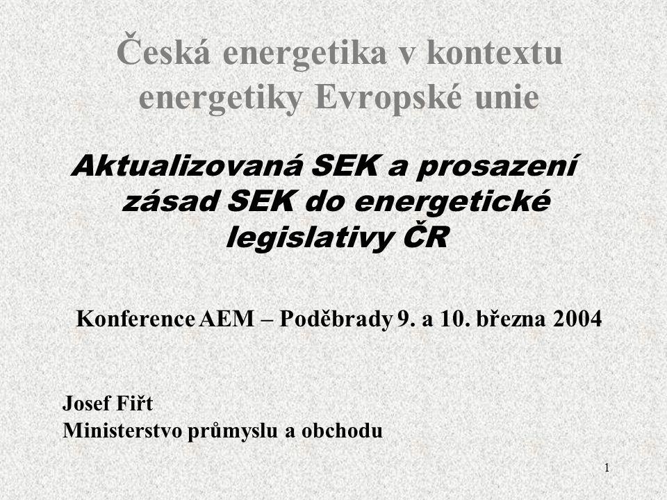 1 Aktualizovaná SEK a prosazení zásad SEK do energetické legislativy ČR Česká energetika v kontextu energetiky Evropské unie Konference AEM – Poděbrady 9.