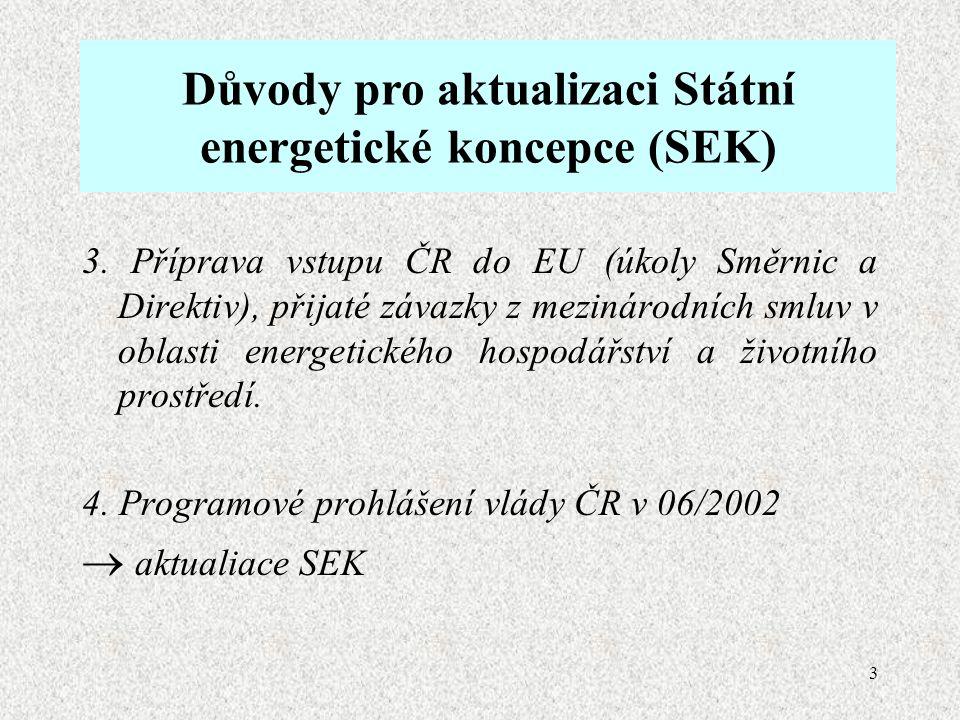 3 Důvody pro aktualizaci Státní energetické koncepce (SEK) 3.