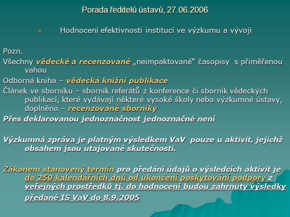"""Porada ředitelů ústavů, 27.06.2006 A. Hodnocení efektivnosti institucí ve výzkumu a vývoji Pozn. Všechny vědecké a recenzované """"neimpaktované"""" časopis"""