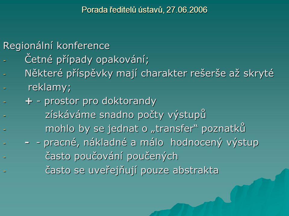 Porada ředitelů ústavů, 27.06.2006 Regionální konference - Četné případy opakování; - Některé příspěvky mají charakter rešerše až skryté - reklamy; -