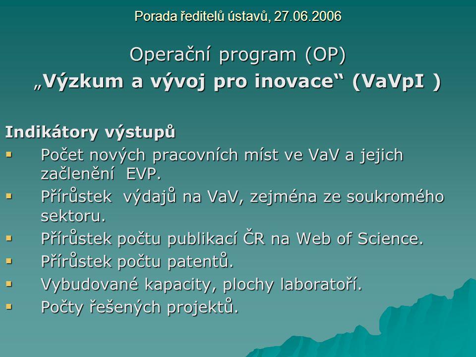"""Porada ředitelů ústavů, 27.06.2006 Operační program (OP) """"Výzkum a vývoj pro inovace"""" (VaVpI ) Indikátory výstupů  Počet nových pracovních míst ve Va"""