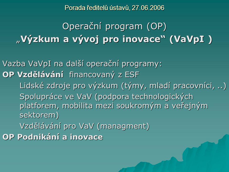"""Porada ředitelů ústavů, 27.06.2006 Operační program (OP) """"Výzkum a vývoj pro inovace"""" (VaVpI ) Vazba VaVpI na další operační programy: OP Vzdělávání f"""
