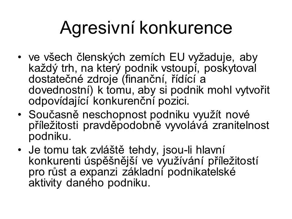 Agresivní konkurence ve všech členských zemích EU vyžaduje, aby každý trh, na který podnik vstoupí, poskytoval dostatečné zdroje (finanční, řídící a d