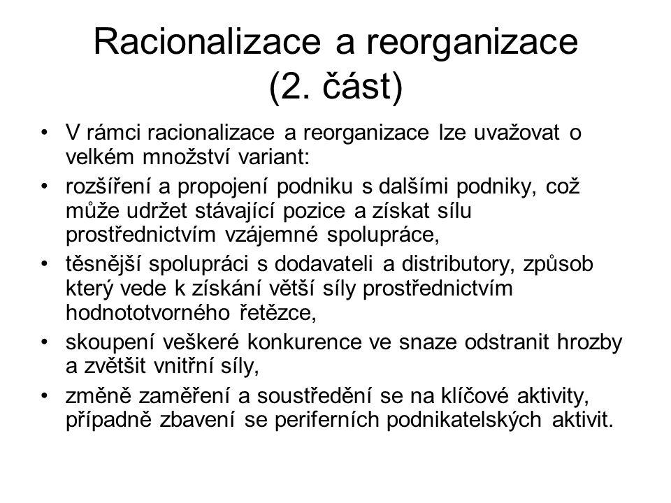 Racionalizace a reorganizace (2. část) V rámci racionalizace a reorganizace lze uvažovat o velkém množství variant: rozšíření a propojení podniku s da