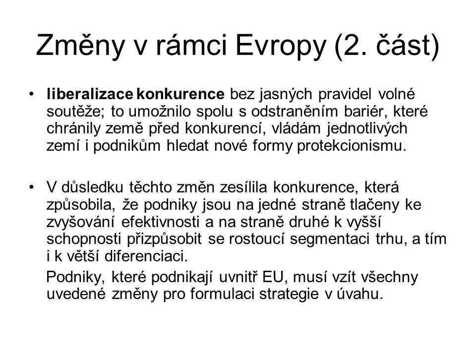 Změny v rámci Evropy (2.
