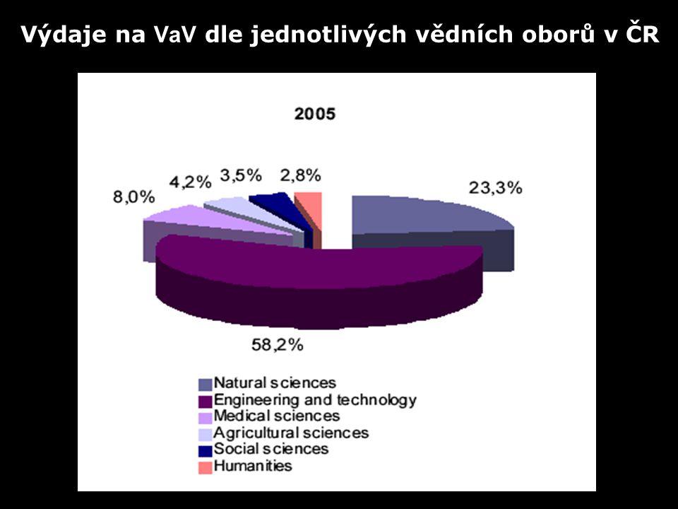 Výdaje na VaV dle jednotlivých vědních oborů v ČR