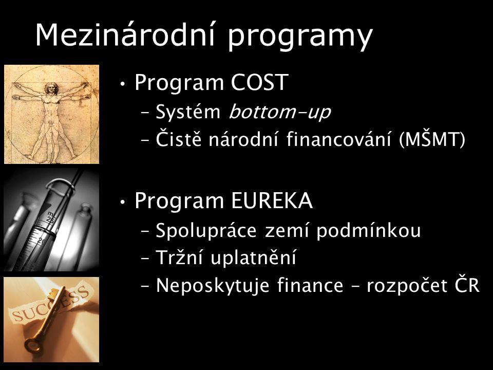 Mezinárodní programy Program COST –Systém bottom-up –Čistě národní financování (MŠMT) Program EUREKA –Spolupráce zemí podmínkou –Tržní uplatnění –Neposkytuje finance – rozpočet ČR