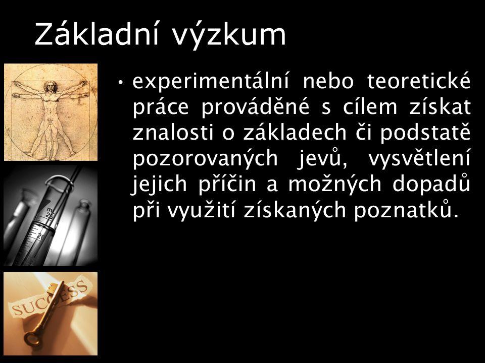 Základní výzkum experimentální nebo teoretické práce prováděné s cílem získat znalosti o základech či podstatě pozorovaných jevů, vysvětlení jejich př