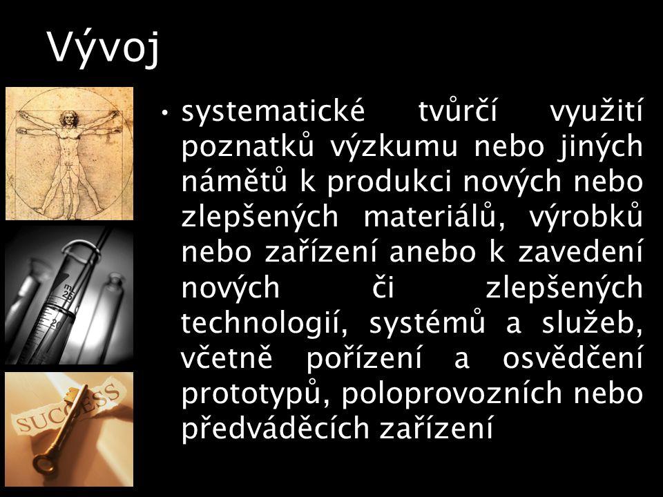 Vývoj systematické tvůrčí využití poznatků výzkumu nebo jiných námětů k produkci nových nebo zlepšených materiálů, výrobků nebo zařízení anebo k zaved
