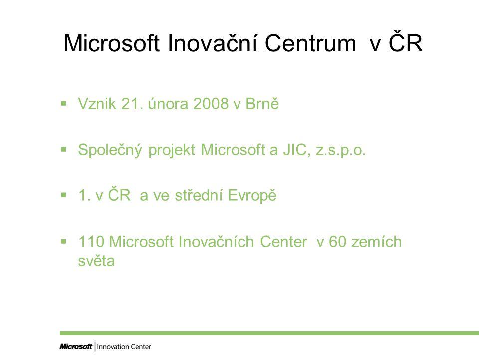 Microsoft Inovační Centrum v ČR  Vznik 21.