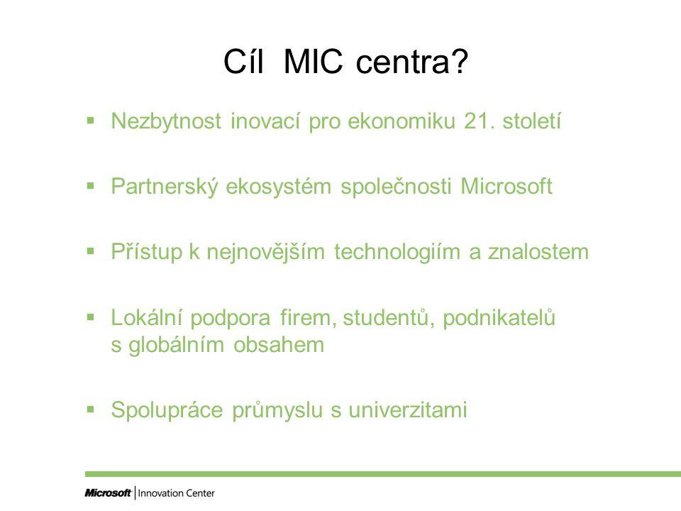 Cíl MIC centra.  Nezbytnost inovací pro ekonomiku 21.