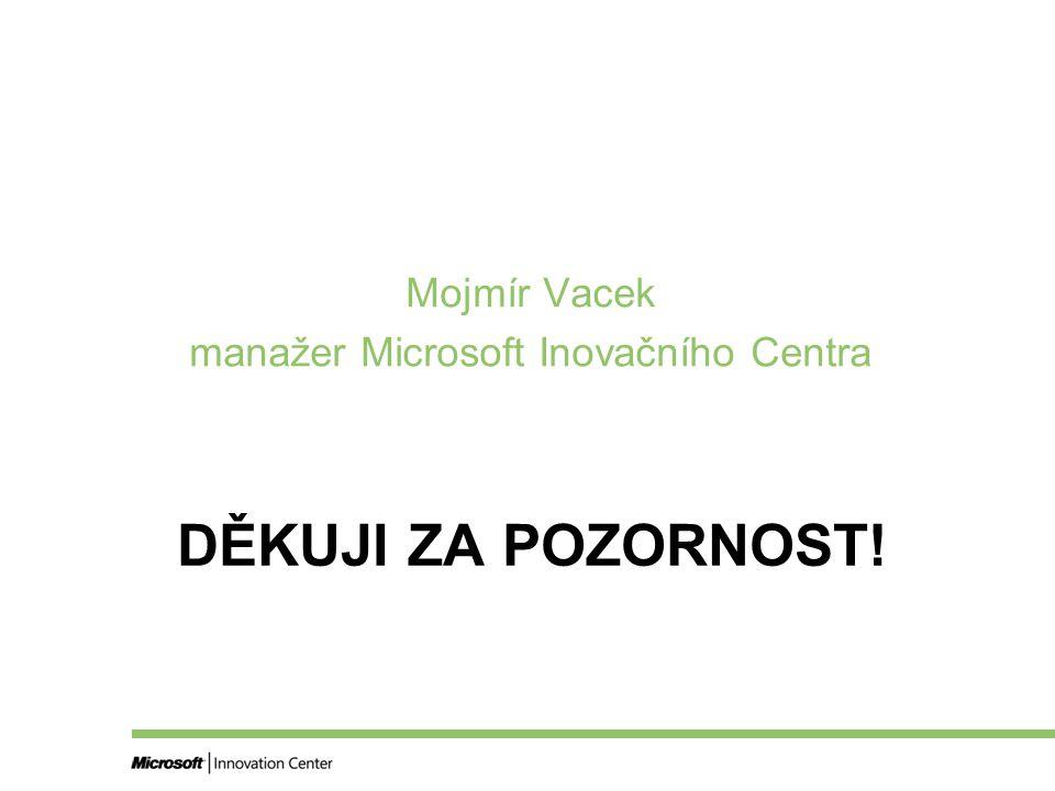 DĚKUJI ZA POZORNOST! Mojmír Vacek manažer Microsoft Inovačního Centra