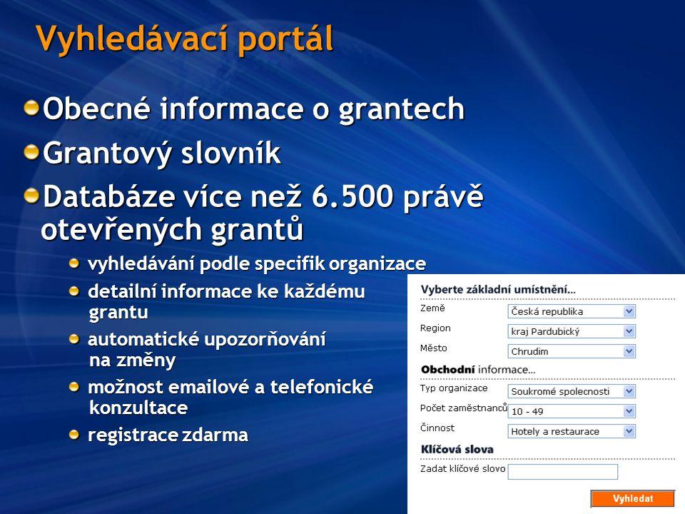 Vyhledávací portál Obecné informace o grantech Grantový slovník Databáze více než 6.500 právě otevřených grantů vyhledávání podle specifik organizace detailní informace ke každému grantu automatické upozorňování na změny možnost emailové a telefonické konzultace registrace zdarma