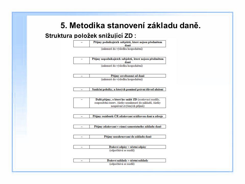 5. Metodika stanovení základu daně. Struktura položek snižující ZD :
