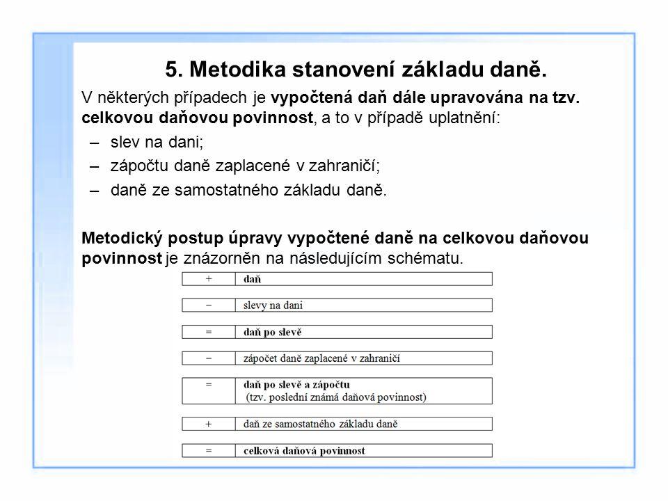 5. Metodika stanovení základu daně. V některých případech je vypočtená daň dále upravována na tzv. celkovou daňovou povinnost, a to v případě uplatněn