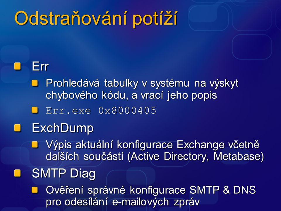 Odstraňování potíží Err Prohledává tabulky v systému na výskyt chybového kódu, a vrací jeho popis Err.exe 0x8000405 ExchDump Výpis aktuální konfigurace Exchange včetně dalších součástí (Active Directory, Metabase) SMTP Diag Ověření správné konfigurace SMTP & DNS pro odesílání e-mailových zpráv