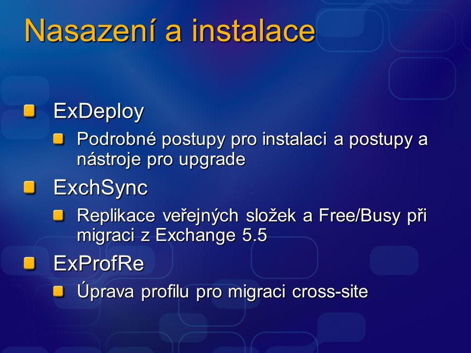 Nasazení a instalace ExDeploy Podrobné postupy pro instalaci a postupy a nástroje pro upgrade ExchSync Replikace veřejných složek a Free/Busy při migraci z Exchange 5.5 ExProfRe Úprava profilu pro migraci cross-site