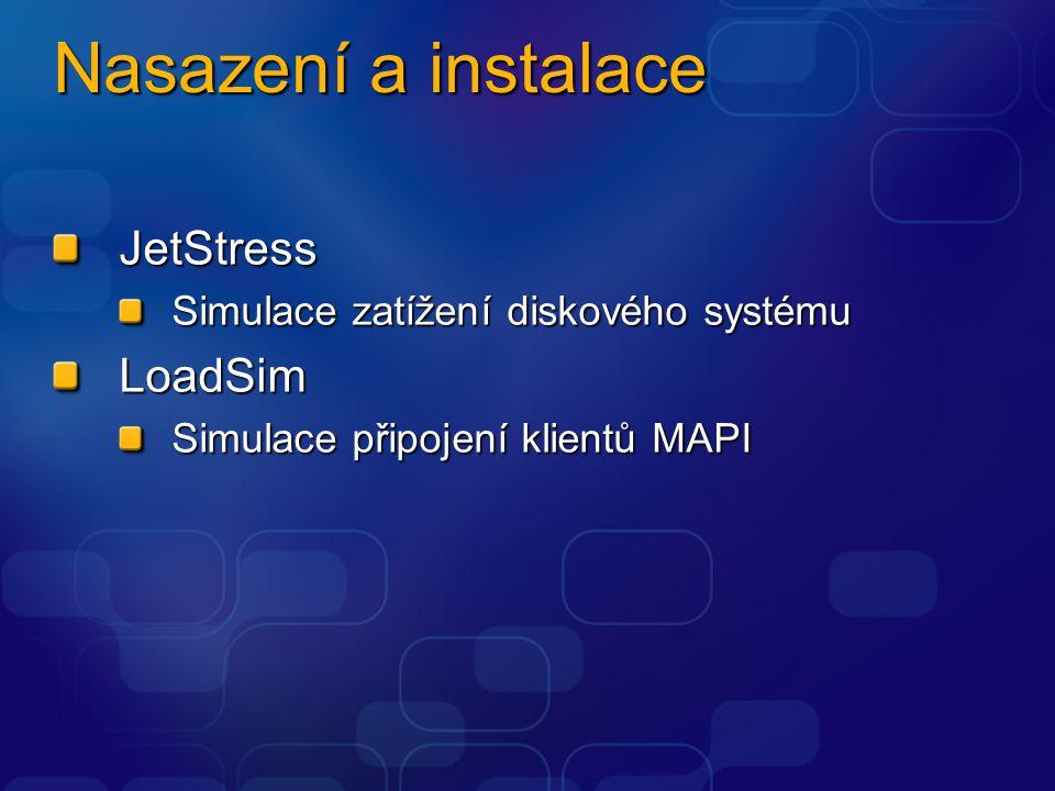 Nasazení a instalace JetStress Simulace zatížení diskového systému LoadSim Simulace připojení klientů MAPI