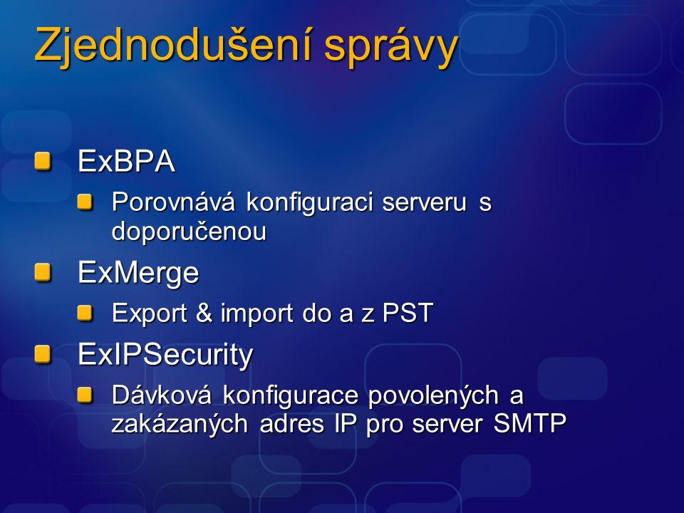 Zjednodušení správy ExBPA Porovnává konfiguraci serveru s doporučenou ExMerge Export & import do a z PST ExIPSecurity Dávková konfigurace povolených a zakázaných adres IP pro server SMTP