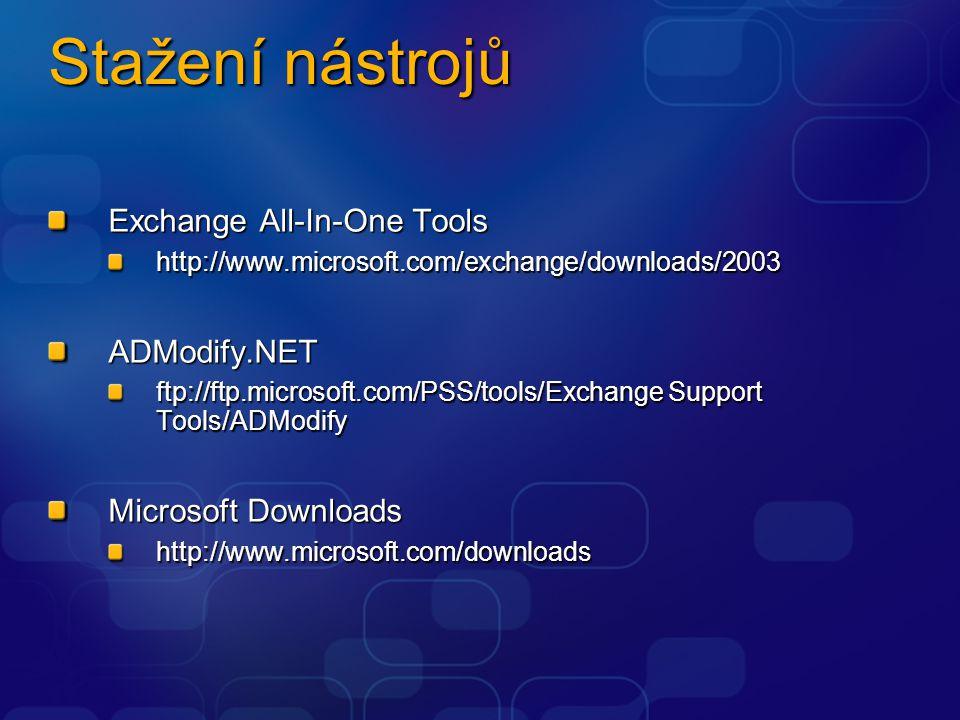 Stažení nástrojů Exchange All-In-One Tools http://www.microsoft.com/exchange/downloads/2003ADModify.NET ftp://ftp.microsoft.com/PSS/tools/Exchange Sup