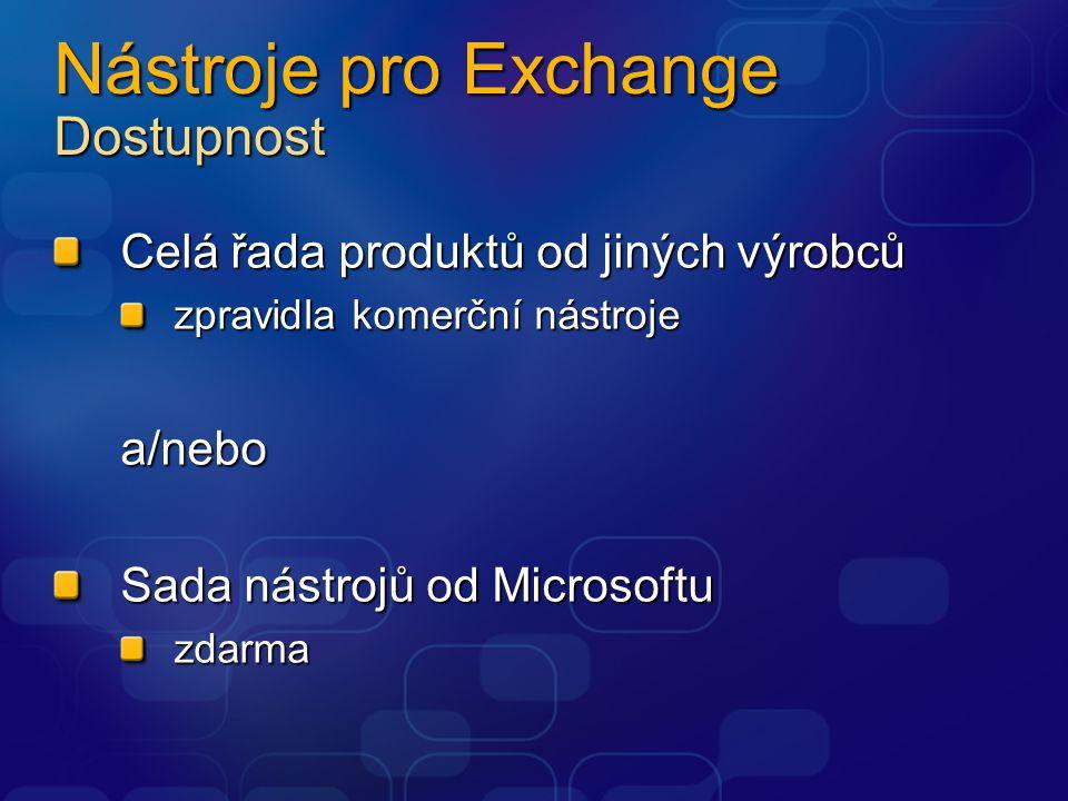 Nástroje pro Exchange Dostupnost Celá řada produktů od jiných výrobců zpravidla komerční nástroje a/nebo Sada nástrojů od Microsoftu zdarma
