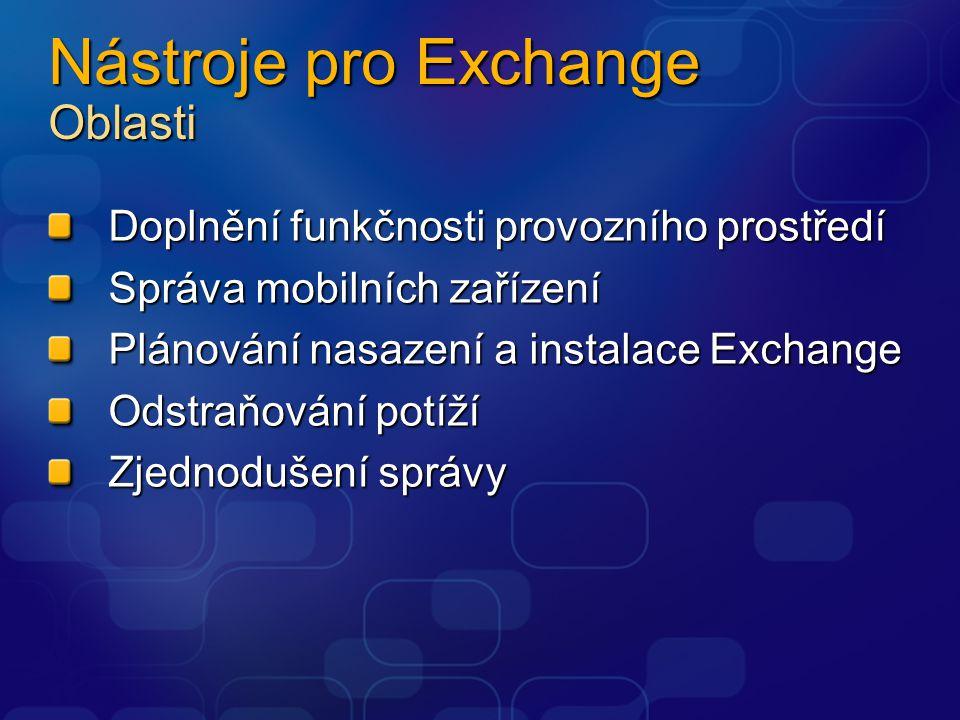 Nástroje pro Exchange Oblasti Doplnění funkčnosti provozního prostředí Správa mobilních zařízení Plánování nasazení a instalace Exchange Odstraňování potíží Zjednodušení správy