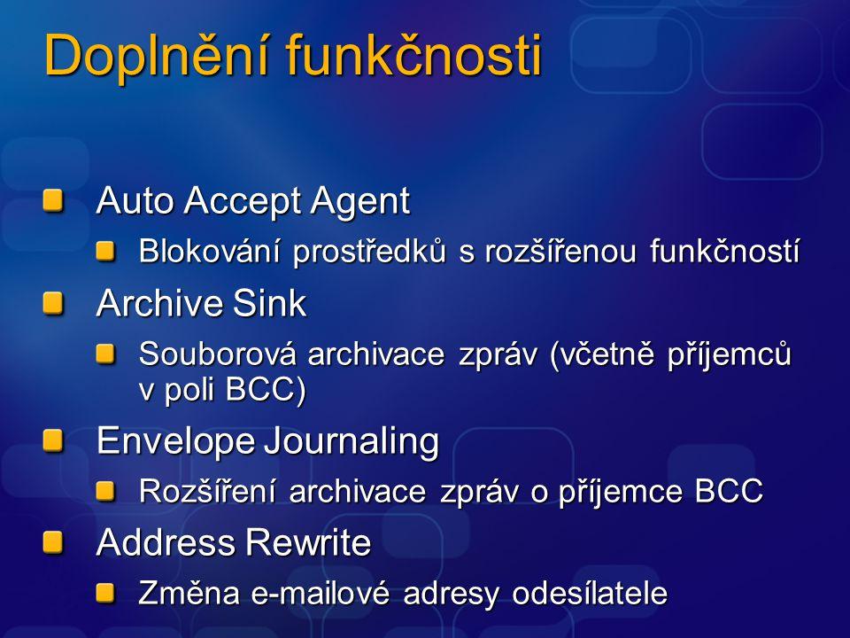 Doplnění funkčnosti Auto Accept Agent Blokování prostředků s rozšířenou funkčností Archive Sink Souborová archivace zpráv (včetně příjemců v poli BCC) Envelope Journaling Rozšíření archivace zpráv o příjemce BCC Address Rewrite Změna e-mailové adresy odesílatele