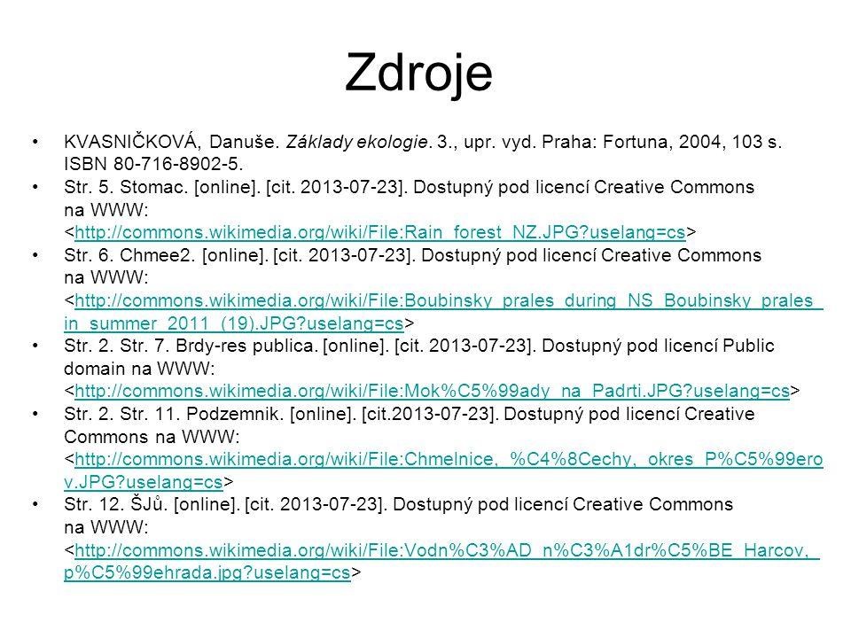 Zdroje KVASNIČKOVÁ, Danuše. Základy ekologie. 3., upr. vyd. Praha: Fortuna, 2004, 103 s. ISBN 80-716-8902-5. Str. 5. Stomac. [online]. [cit. 2013-07-2