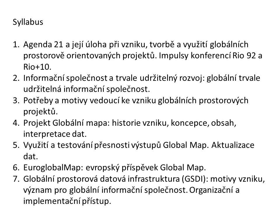 Syllabus 1.Agenda 21 a její úloha při vzniku, tvorbě a využití globálních prostorově orientovaných projektů.