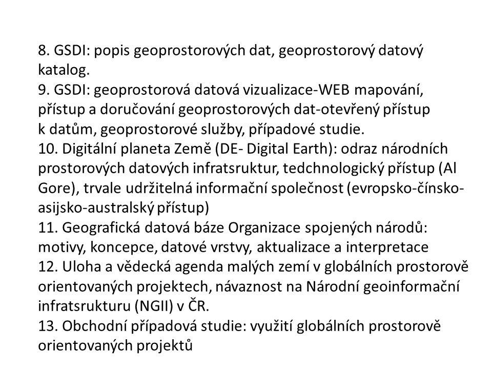 8. GSDI: popis geoprostorových dat, geoprostorový datový katalog.
