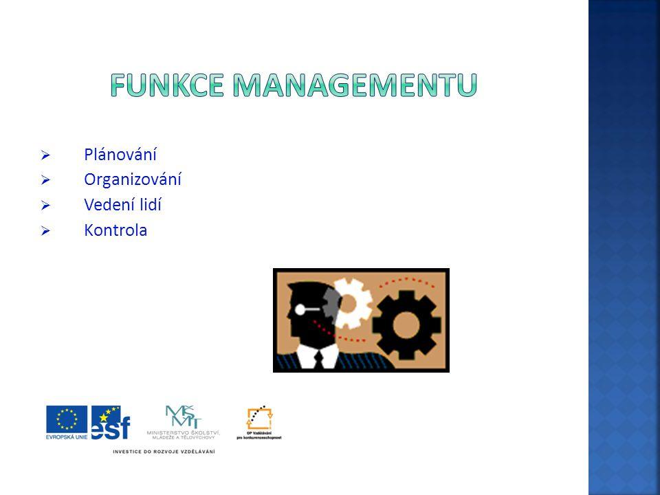  Plánování  Organizování  Vedení lidí  Kontrola